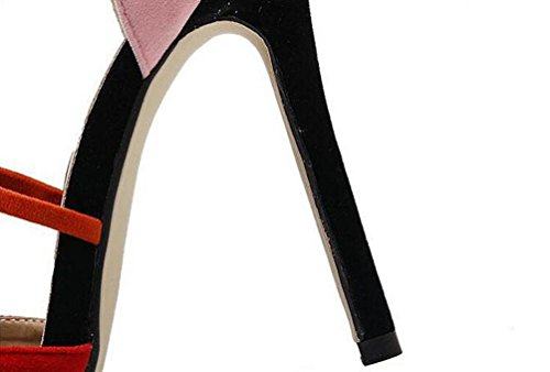 Beauqueen Pumps Wildleder Spitz-Zehen Stiletto High Heel Knöchel Krawatten Limited Edition Feminine Sandalen EU Größe 35-40 Red