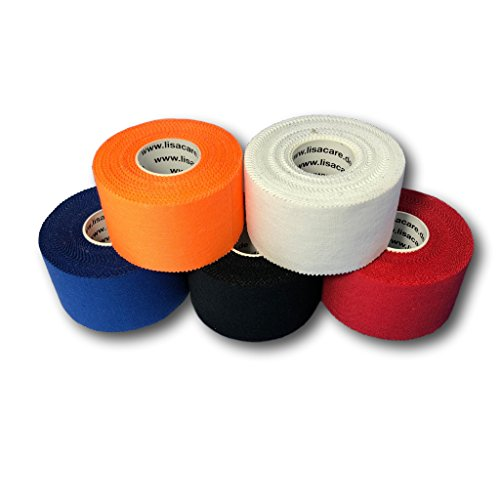 LisaCare Sporttape - Fünf Rollen Tape je 3,8 cm x 10 m - bunter Farb-Mix blau, orange, rot, schwarz, weiß mit Zick-Zack Kante (Orange Athletic Tape)