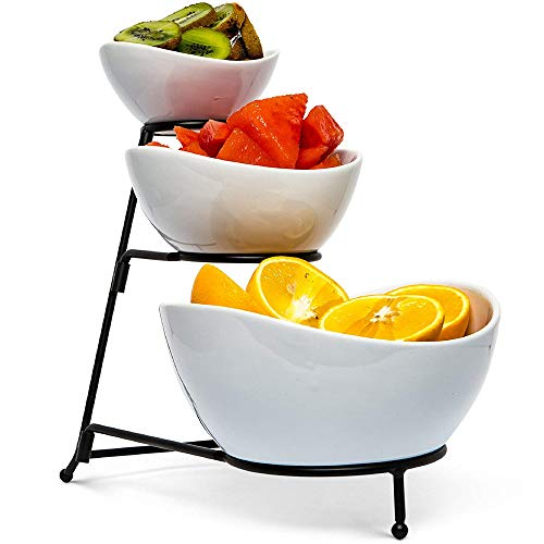 LARRY SHELL 3 Tier Metal Display Stand Food Serving Bowl Set Relish Tray mit White Ceramic Bowl Party Snack Server Dessert Appetizer Fruit Candy Chip Dip Keramik Relish Tray