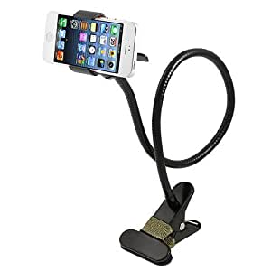 AFUNTA Universal 360 degree Rotation Flexible Long Arms Mobile Phone Holder, Gooseneck Clamp Holder Bracket Stand for iPhone4 / 5 / 5S /6, Samsung Galaxy S3 S4 S5, Note2 / Note3, Android and All Mobiles and Cameras Wide Less than 95mm, Lazy beside Bed, Car, Bedroom, Kitchen, Office, Bathroom (White)
