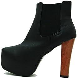 Kayla Shoes© Plateau Chelsea Boots Holzabsatz Optik (39, Schwarz Leder)