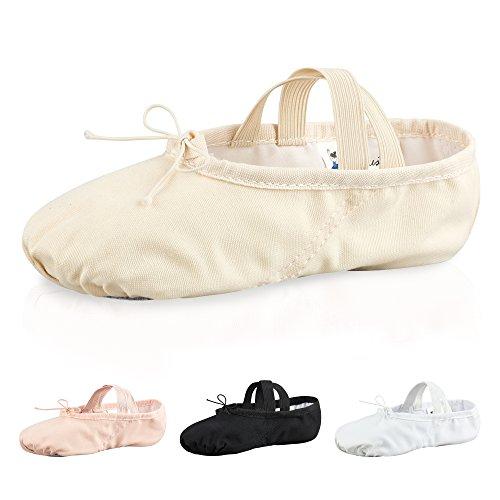 tanzmuster Ballettschuhe / Ballettschläppchen aus Leinen, geteilte Ledersohle, für Kinder und Erwachsene in weiß, rosa-apricot, schwarz und sandfarben, in den Größen 22-45. sandfarben