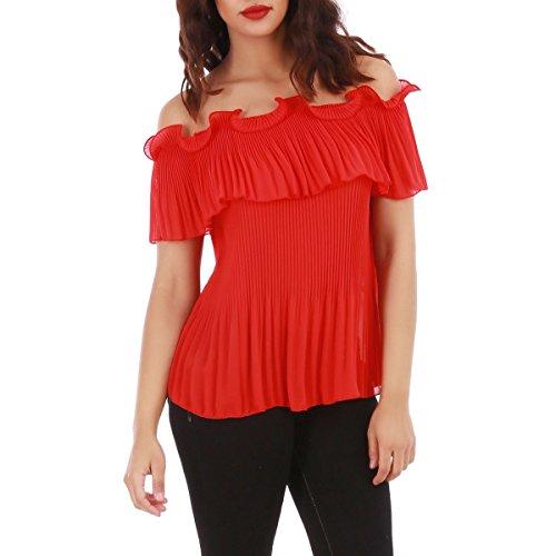La Modeuse - Top femme ample à épaules dénudées Rouge