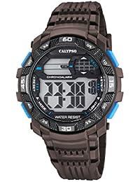 Calypso Hombre Reloj digital con pantalla LCD Pantalla Digital Dial y correa de plástico de color marrón k5702/4