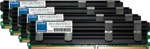 GLOBAL MEMORY 16GB (4x 4GB) DDR2667MHz PC2-5300240-PIN ECC Voll gepuffert (FBDIMM) Arbeitsspeicher RAM Kit für Mac Pro (Original/2006) -