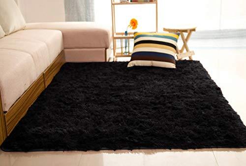 Liveinu tappeto shaggy rettangolo tappeti soggiorno pelo lungo antiscivolo lavabili moderni moquette 60x120cm nero