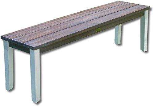 """NEU Picknick Bank Gartenbank """"ARUBA"""" weiß braun Eukalyptusholz 140x35x44cm"""
