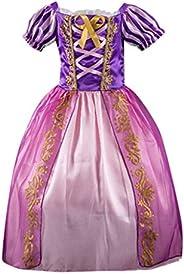 HAOHEYOU Disfraces de Princesa Rapunzel para niñas Vestidos de Princesa para niñas Vestido de Fiesta Elegante