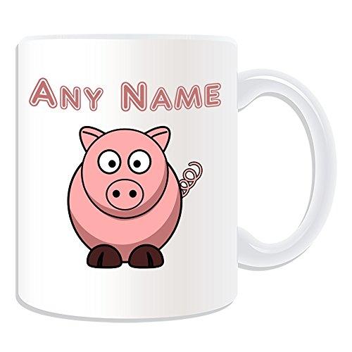 Cadeau personnalisé Motif Silly Pig Tasse Motif Animal-(blanc) /-nom sur votre propre Message Motif cochon Rose