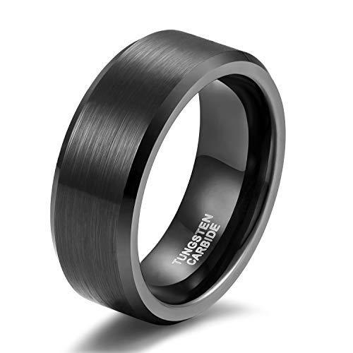 Damen Herren Ringe aus Wolframcarbid Gebürstet Schwarz Verlobungsringe Trauringe (Männer-holz-ring)