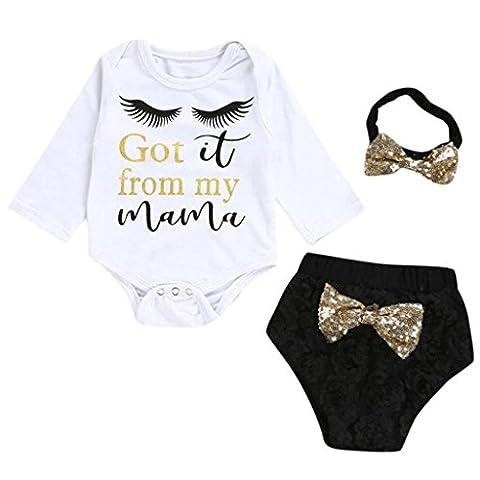 Vêtements pour filles, Tonwalk Cravates à Manches Longues à la Mode Lettres Imprimées Jeans + Shorts + Cheveux à Trois Pièces (24M, Blanc)