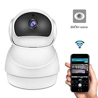 Wi-Fi-IP-Kamera, ABEDOE 2.0MP 360 Grad 1080P FHD Panorama Baby Monitor, Unterstützung IR Nachtsicht / Zwei-Wege-Audio / Video-Verschlüsselung / Motion Alarm für iOS Android Handy, EU-Stecker (1PCS Snowman Shape)