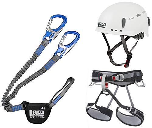 LACD Klettersteigset Pro Blue + Klettergurt Start Größe M + Helm Protector 2.0 White