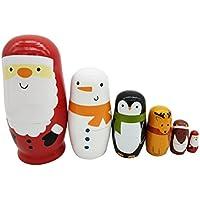 Healifty Russische Nesting Dolls Weihnachtsmann Schneemann Tiere Matryoshka Holz Spielzeug Russische Puppen Klassische Babuschka Handmade Geschenk 6 Stück