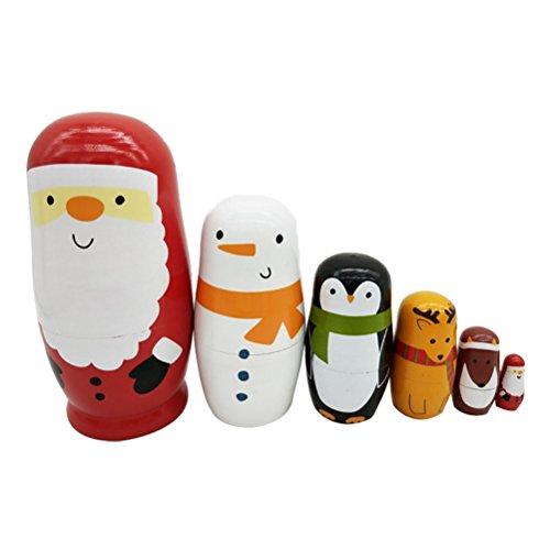 esting Dolls Weihnachtsmann Schneemann Tiere Matryoshka Holz Spielzeug Russische Puppen Klassische Babuschka Handmade Geschenk 6 Stück ()