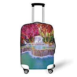 Travel Luggage Cover Suitcase Protector,Waterfall Decor,Rain Forest in Vietnam Laos with Asian Pink and Orange Trees Side of River Image,Blue,for Travel