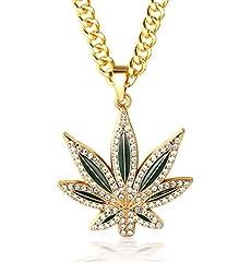 Idea Regalo - Halukakah ● Marijuana ● Uomo Maschile 18K 18 Carati Placcato Oro Reale Marihuana Weed Pendente Diamanti Artificiali Collana con Catena a Cubano Gratuita 30