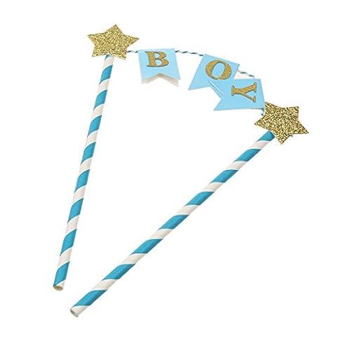 Mignion Gâteau Topper Bâtonnette avec Décor Pailletté et Bannière pour Anniversaire Baby Shower - Bleu BOY