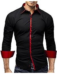 MERISH Slim Fit chemise homme, longue chemise chic et décontracté Bicolore style unique Modell 93