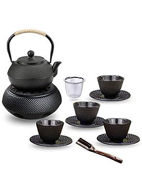Service à thé 12 pièces, théière en fonte avec passoire, chauffe-plat, cuillère, passoire, 4 tasses à thé et 4 dessous de verre 1,4 l