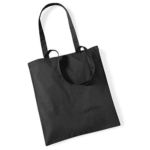 Westford Mill Leben Lange Griffe Shopper Schultertasche Einkaufstasche Baumwolle WM101, Textil, schwarz, 38 x 42cm (Schwarz Handtasche Kooba)