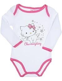 Body bébé fille manches longues -H12F0342- Charmmy kitty Blanc/rose foncé 30mois