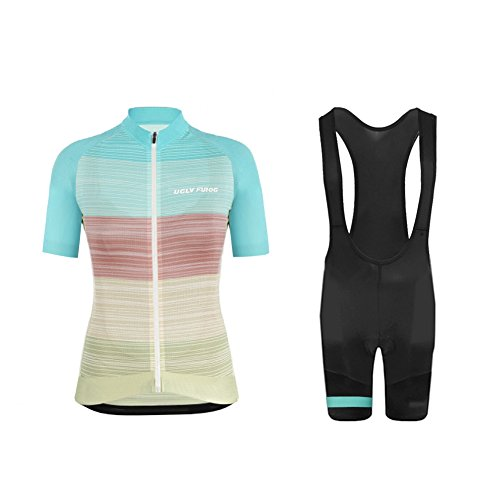 Uglyfrog Donna Ciclismo Set Bicicletta Abbigliamento Maglia Manica Corta + Pantaloncini da Ciclista con Seduta 3D WZ04F