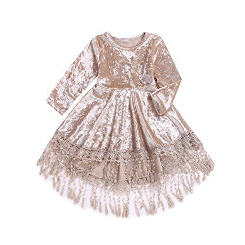 Kleines Baby Mädchen Plissee Kleid Princess Vintage Velvet Quasten High Low Midi Kleider Kinder Rock 0-4J (Velvet-kleid Mädchen Für Baby)