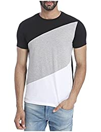Urbano Fashion Men's Black, Grey, White Round Neck Half Sleeve T-Shirt