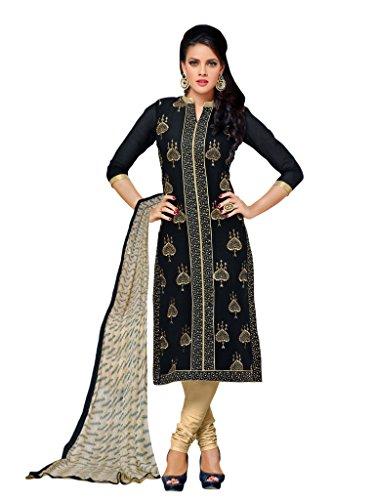 Applecreation Women's Chanderi Cotton Salwar Kameez (Black, 8DMK039)