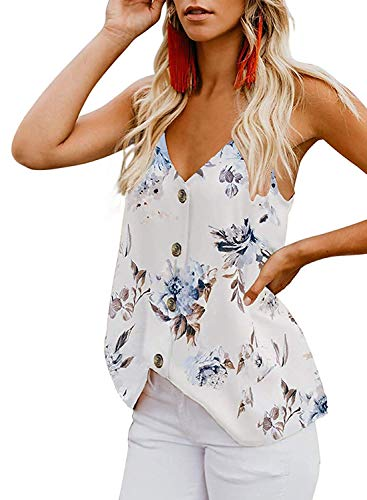 Durio Top Damen Sexy Tank Top Damen Sommertop Spaghetti Top Ärmellose Bluse V-Ausschnitt Shirt Weiß mit Blumen EU 44 (Herstellergröße L)