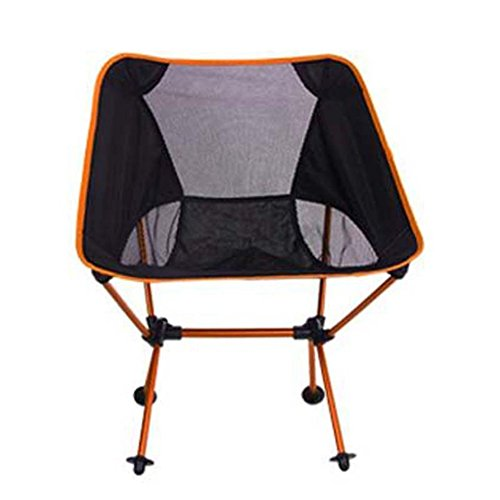 L&J Camping Chaises Pliantes, Plein Air Portable Loisir Chaise, Alliage D'Aluminium Chaise De Pêche Lightweight Chaise De Lune, Le Picnic Barbecues, Charge 150kg-Orange