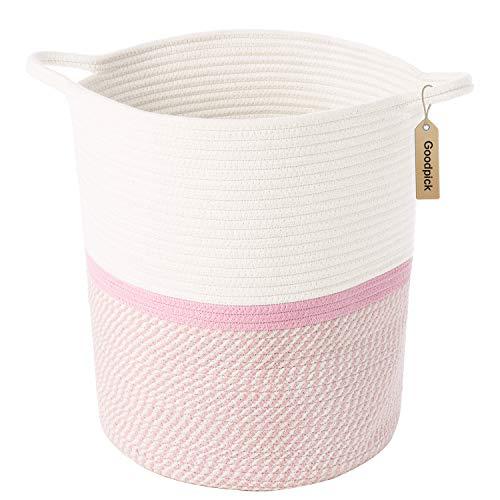 INDRESSME Cotton Rope Basket Pink für Baby-Kindergarten-Zimmer | Niedliche Kinder Wäscherei Hamper | Deckket Korb, Spielzeug Chest Soft, Bottom | Gewebte Körbe