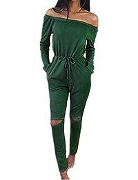 ee8422ffb9cf5f Lonely hero Langarm Hosenanzug Jumpsuit Damen Elegant Lang Hosen Trägerlos  Overall