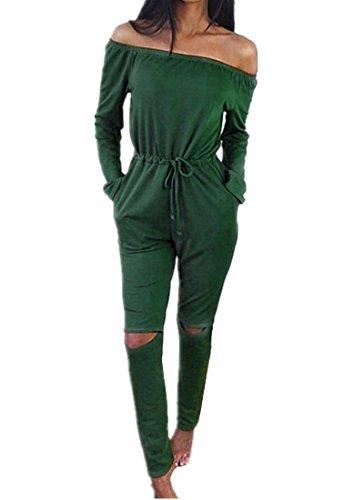 Lonely hero Langarm Hosenanzug Jumpsuit Damen Elegant Lang Hosen Trägerlos Overall