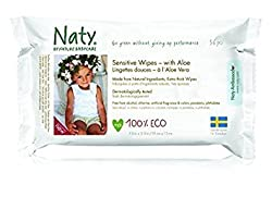(Pack of 3) : Naty by Nature Babycare Sensitive Wipes With Aloe 390g (Pack of 3)