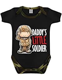 Daddy's Little Soldier Woodland Camo Baby Grow Black