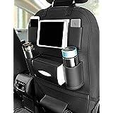 Axmon® Car Back Seat Storage Organizer - PU Leather Car Seat Back Protection [7 Separate compartments] Universal Multi Pocket Backseat Storage Hanger for Mobiles,Bottles,Tissue Box,Magazines (Black)