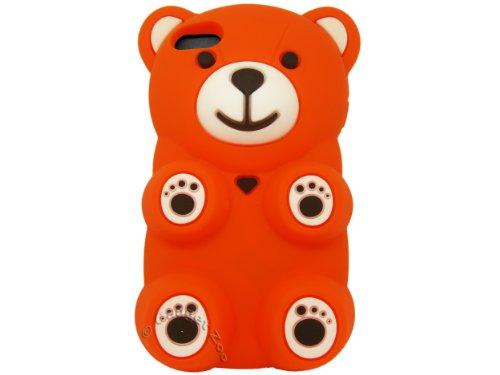 Gadget Zoo Coque en silicone pour iPhone 5/5S Motif ourson 3D blanc - blanc Orange - orange