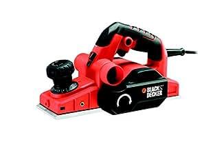 BLACK+DECKER KW750K-QS Rabot filaire - 750W - 16000 trs/min - L : 290 mm - l : 82 mm - Profondeur de coupe : 0- 2 mm - Accessoires : 1 guide parallèle et 1 sac à poussière - Livré en coffret