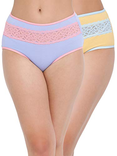 Clovia Women's Pack of 2 Cotton High Waist Hipster Panty with Lace Insert