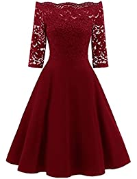 OHQ Robe en Dentelle pour Une Dame Noir Rouge Marine Femmes New Vintage Femme  Chic Soiree Longue Grande Taille Courte Patchwork Off… bb3f427582ea