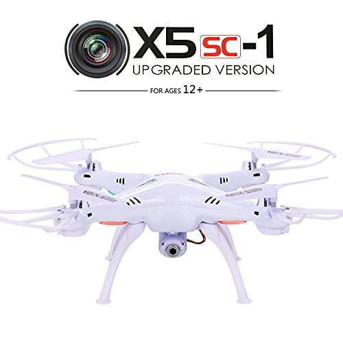 Syma X5SC-1 Drone Falcon Cuadricópteros RC (360 Grados, 4CH 6 Axis, 2.4G, 720P Cámara, LED Colorido, Fotográfica Aérea) - Blanco