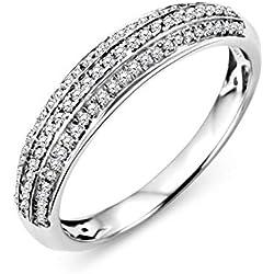 Miore Bague Femmes Bague éternité avec Plusieurs Rangées de Diamants pavés en Or Blanc 9 Karat / 375 Or Diamants Brillants 0.23 Carat, Bijoux