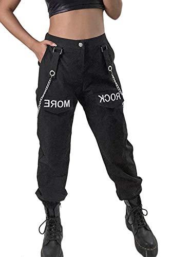 Jumojufol Frauen Kette Insgesamt Hose Dehnbar Taille Konischen Lange Beine schwarz M