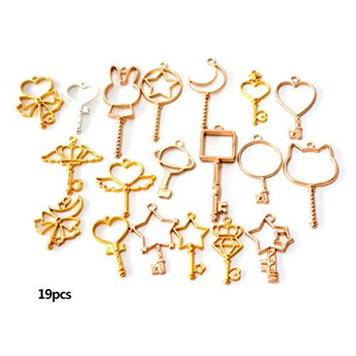 Gjyia 19pcs/Set Key Star Moon Metal Frame Charm Pendant Bezel Setting UV Resin Epoxy Jewelry DIY Charm Accessories Handmade