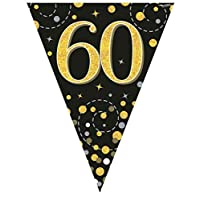 Hi Fashionz Black Gold Sparkling Fizz Birthday Party Holographic Bunting 11 Flags 3.9m 60th Ages