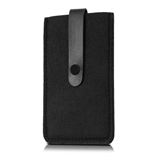 kwmobile Edle Filztasche mit Kunstlederlasche für Smartphones in Schwarz -
