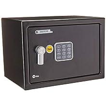 Yale YSV/250/DB1 Medium Value Safe, Digital Keypad, LED Light Indicators, 15 mm Steel Locking Bolts, Emergency Override Key, Black Finish, 16 Litre Capacity