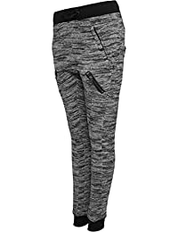 URBAN CLASSICS - Ladies Fitted Melange Zip Sweatpants (black-grey)